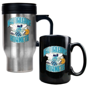 New Orleans Hornets Stainless Steel Travel Mug & Black Ceramic Mug Set
