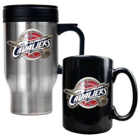 Cleveland Cavaliers Stainless Steel Travel Mug & Black Ceramic Mug Set