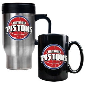 Detroit Pistons Stainless Steel Travel Mug & Black Ceramic Mug Set