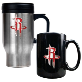 Houston Rockets Stainless Steel Travel Mug & Black Ceramic Mug Set