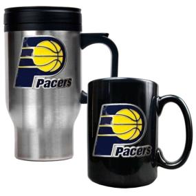 Indiana Pacers Stainless Steel Travel Mug & Black Ceramic Mug Set