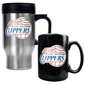Los Angeles Clippers Stainless Steel Travel Mug & Black Ceramic Mug Set