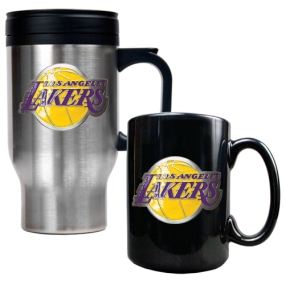 Los Angeles Lakers Stainless Steel Travel Mug & Black Ceramic Mug Set