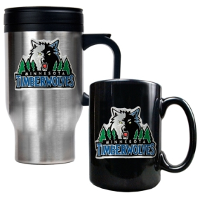 Minnesota Timberwolves Stainless Steel Travel Mug & Black Ceramic Mug Set
