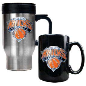 New York Knicks Stainless Steel Travel Mug & Black Ceramic Mug Set