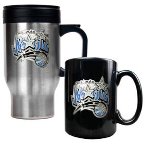 Orlando Magic Stainless Steel Travel Mug & Black Ceramic Mug Set