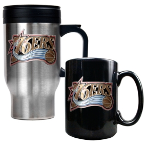 Philadelphia 76ers Stainless Steel Travel Mug & Black Ceramic Mug Set