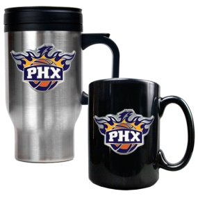 Phoenix Suns Stainless Steel Travel Mug & Black Ceramic Mug Set