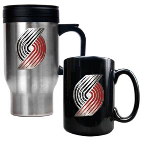 Portland Trailblazers Stainless Steel Travel Mug & Black Ceramic Mug Set