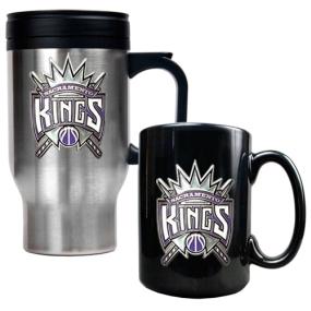 Sacramento Kings Stainless Steel Travel Mug & Black Ceramic Mug Set