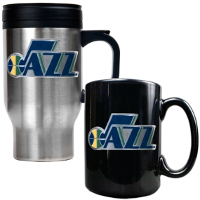 Utah Jazz Stainless Steel Travel Mug & Black Ceramic Mug Set