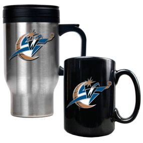 Washington Wizards Stainless Steel Travel Mug & Black Ceramic Mug Set