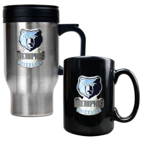 Memphis Grizzlies Stainless Steel Travel Mug & Black Ceramic Mug Set
