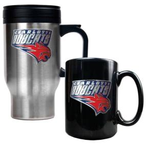 Charlotte Bobcats Stainless Steel Travel Mug & Black Ceramic Mug Set