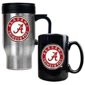 Alabama Crimson Tide Stainless Steel Travel Mug & Ceramic Mug Set