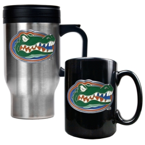 Florida Gators Stainless Steel Travel Mug & Ceramic Mug Set