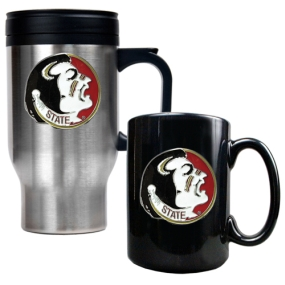 Florida State Seminoles Stainless Steel Travel Mug & Ceramic Mug Set