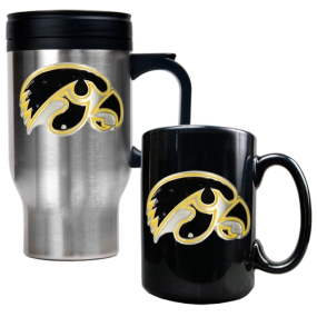 Iowa Hawkeyes Stainless Steel Travel Mug & Ceramic Mug Set