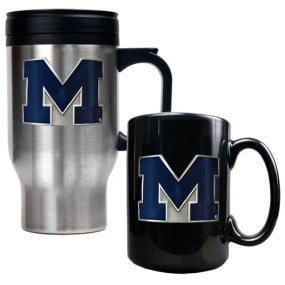 Michigan Wolverines Stainless Steel Travel Mug & Ceramic Mug Set