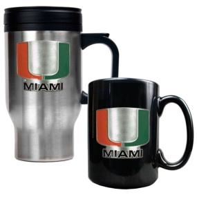 Miami Hurricanes Stainless Steel Travel Mug & Ceramic Mug Set