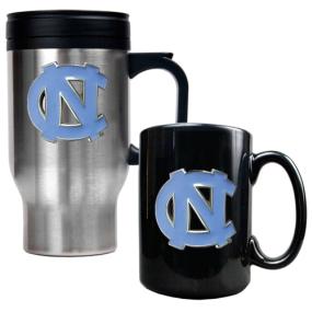 UNC Tar Heels Stainless Steel Travel Mug & Ceramic Mug Set