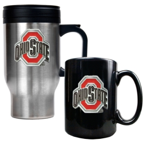 Ohio State Buckeyes Stainless Steel Travel Mug & Ceramic Mug Set