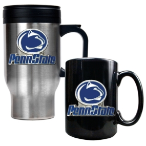 Penn State Nittany Lions Stainless Steel Travel Mug & Ceramic Mug Set