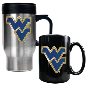 West Virginia Mountaineers Stainless Steel Travel Mug & Ceramic Mug Set