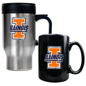 Illinois Fighting Illini Stainless Steel Travel Mug & Ceramic Mug Set
