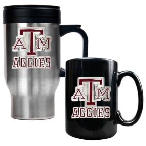 Texas A&M Aggies Stainless Steel Travel Mug & Ceramic Mug Set