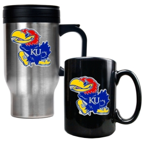 Kansas Jayhawks Stainless Steel Travel Mug & Ceramic Mug Set