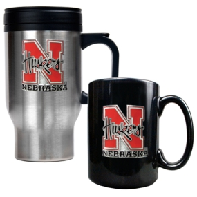 Nebraska Cornhuskers Stainless Steel Travel Mug & Ceramic Mug Set