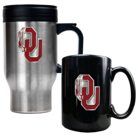 Oklahoma Sooners Stainless Steel Travel Mug & Ceramic Mug Set