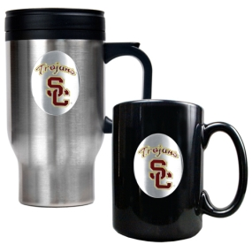 USC Trojans Stainless Steel Travel Mug & Ceramic Mug Set