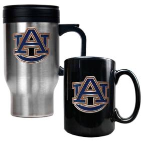 Auburn Tigers Stainless Steel Travel Mug & Ceramic Mug Set