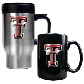 Texas Tech Red Raiders Stainless Steel Travel Mug & Ceramic Mug Set