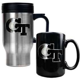 Georgia Tech Yellow Jackets Stainless Steel Travel Mug & Ceramic Mug Set