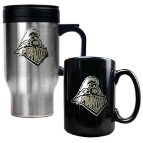 Purdue Boilermakers Stainless Steel Travel Mug & Ceramic Mug Set