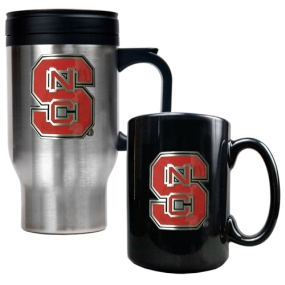 N.C. State Wolfpack Stainless Steel Travel Mug & Ceramic Mug Set