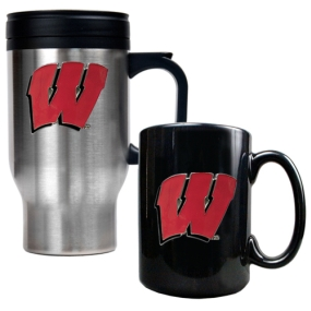 Wisconsin Badgers Stainless Steel Travel Mug & Ceramic Mug Set