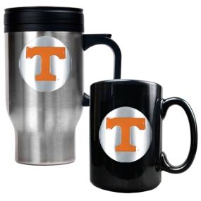 Tennessee Volunteers Stainless Steel Travel Mug & Ceramic Mug Set