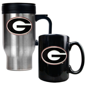 Georgia Bulldogs Stainless Steel Travel Mug & Ceramic Mug Set