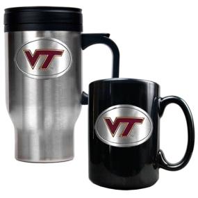Virginia Tech Hokies Stainless Steel Travel Mug & Ceramic Mug Set