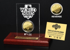 Texas Rangers 2010 A.L Champs 24KT Gold Coin Etched Acrylic