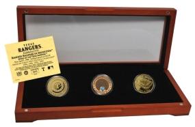 TEXAS RANGERS 24kt Gold and Infield Dirt 3 Coin Set