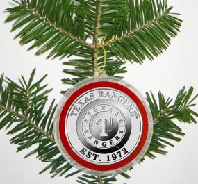 Texas Rangers Silver Coin Ornament