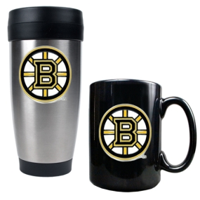 Boston Bruins Stainless Steel Travel Tumbler & Black Ceramic Mug Set