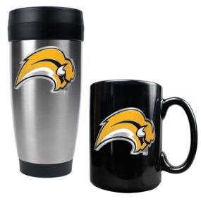 Buffalo Sabres Stainless Steel Travel Tumbler & Black Ceramic Mug Set