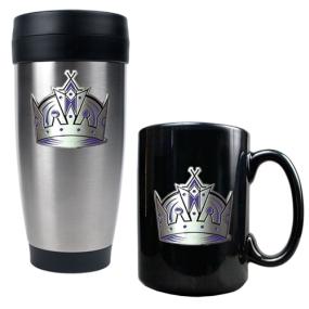 Los Angeles Kings Stainless Steel Travel Tumbler & Black Ceramic Mug Set