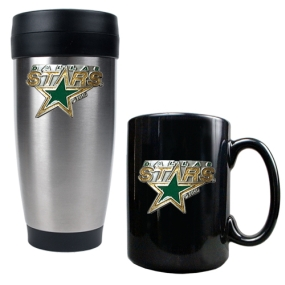 Dallas Stars Stainless Steel Travel Tumbler & Black Ceramic Mug Set